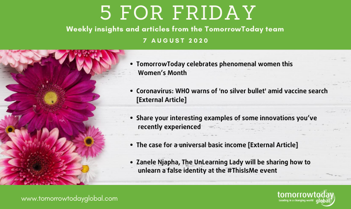 Five for Friday: 7 August 2020